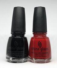 China Glaze Nail Polish Liquid Leather 544 + Paint The Town Red 554 Creme Black