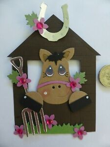 4 Large Horse Pony & Stable 3D handmade card toppers ideal girls birthday #3