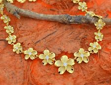 Yellow Plumeria CZ Necklace-Sterling Silver-Wedding,Fashion,Flower,Hawaiian,Cute