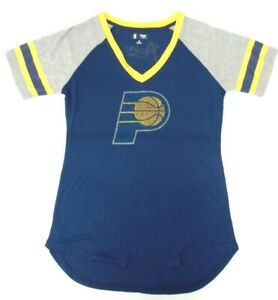 Indiana Pacers Women's GIII 4her M Fade Route Tee Shirt 672 Blue Bling