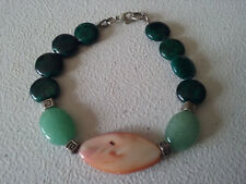 """HANDMADE SILVER PLATED GREEN CHRYSOCOLLA AND  MOTHER OF PEARL BRACELET 8"""""""