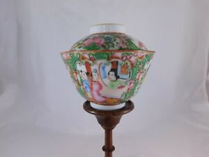 Antique Rose Medallion Chinese Famille, Bowl/Lid