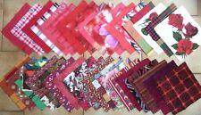 PATCHWORK COUTURE  LOT 100 CARRÉS 15 x 15 cm environ TISSUS  ROUGE  à  BORDEAUX