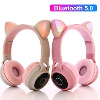 Wireless Cat Ear Headphones Bluetooth Headset Led Kids Mic Earphone Stereo Light