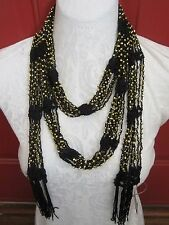 "75"" **GOLD BEADS - CROCHET** Scarf Accessory Belt  **MANY USES**"