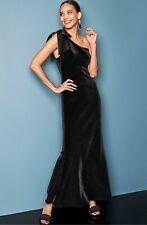 NEW ELIZA J Black Lush Satin Bow One Shoulder Velvet Bodycon Mermaid Gown 8P M