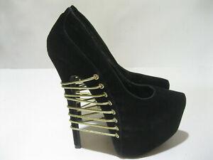 "Black 6"" High Heel Round Toe 2.5"" Platform Sexy Shoes Women Size 7"
