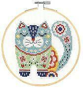 DMC Counted Cross Stitch Kit Inc. Hoop - Folk Art Cat
