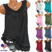 Summer Women Lace Loose Sleeveless Vest T Shirt Blouse Boho Tops Shirt Plus Size