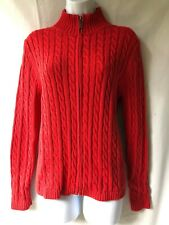 LL Bean Classic RED Cotton Cable Knit Cardigan Sweater Zip Front Size L
