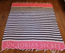 Victoria's Secret Cotton Pink Black Striped Beach Turkish Towel Fringe