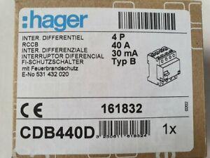 HAGER FI-Schalter CDB440D 4P 10kA 40A 30mA Typ B NK