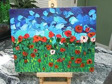 Abstract Floral Original Heavy Texture Impasto Palette Knife, Poppies~INV#1258