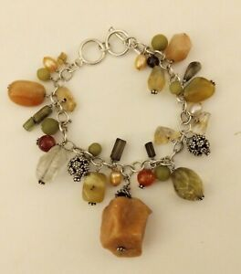 SILPADA Sterling Silver Natural Stone Cha Cha Bracelet Jade Pearl Agate Crystal