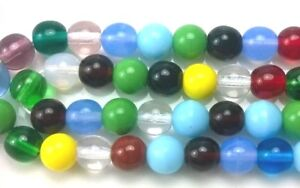 """Czech Glass Round Beads Size 6.00 mm """" MIX ASSORTED COLORS"""" Strands"""