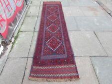 Vintage Hand Made Afghan Mushvani Oriental Red Wool Narrow Runner 244x59cm