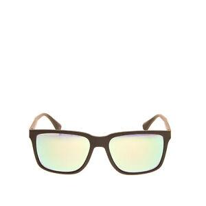 RRP €140 EMPORIO ARMANI Square Sunglasses Soft Touch Frame Mirrored Lenses
