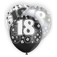 "Unique Party 80892 - 12"" Latex Glitz Black and Silver 18th Birthday Balloons PA"