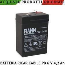Batteria Ricaricabili Pb Ermetica 6 V. 4,5 Ah Antifurti Lampade Emergenza VRLA