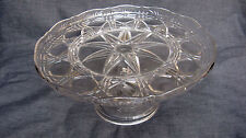 1900 Antique Pressed Glass Block & Triple Bars Cane and Fan Pedestal Cake Stand