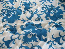 PreQuilted Blue White Home Decor Fabric Vtg 70s Pre QUilted Awesome half yard