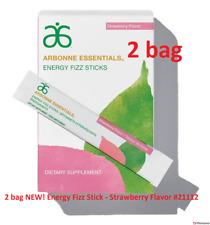 2 Boxes Arbonne Energy Fizz Stick - Strawberry Flavor #2111, 60 stick packs