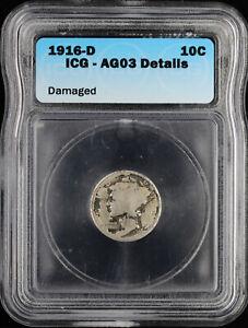 1916 D 10c Mercury Dime ICG AG03 Details