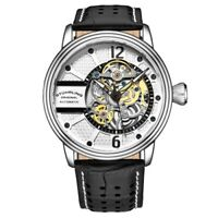 Stuhrling 3971 5 Automatic Skeleton Black Leather Strap Mens Watch