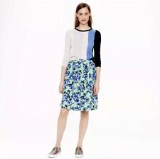 J Crew Womens Full Patio Skirt 2 Photo Floral Green & Blue Cotton Pockets