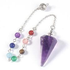 Hexagon Pyramid 7 Stone Beads Chakra Chain Pendulum Natural Amethyst Pendants