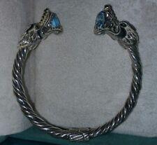 Ross Simons 18k yellow Gold & sterling silver Dragon head Cuff bangle Bracelet
