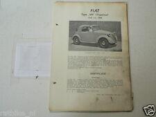 F47-FIAT 500 TOPOLINO 1936-1948 -TECHNICAL INFO CLASSIC CAR OLDTIMER VINTAGE