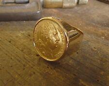 Chevalière or ronde avec pièce or 20 Francs Louis XVIII buste nu