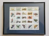 Vintage 1980s Motorcycle Postage Stamps Set of 23 Framed, Harley, Mongolia, Race