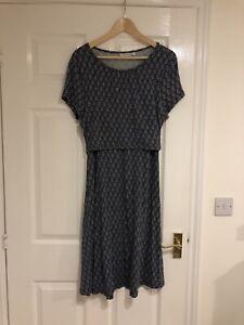 Jojo Maman Bebe Maternity And Nursing Navy Diamond Pattern Midi Dress Medium