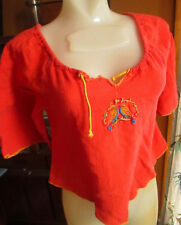 Xs/S True Vtg 70's All Cotton Peasant Love Birds Embroidered Top Shirt