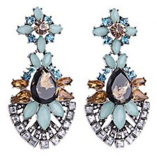 AQUAMARINE BLUE GREEN BLACK CITRINE & TOPAZ Designer Crystal Rhinestone Earrings