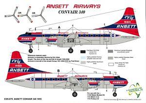 1/72 ANSETT AIRWAYS DECALS; Convair 340 VH-BZD 1955