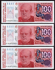 "Argentina ""R Replacement"" (1989) 100-Australes {TRIPLE} UNC Notes: P327(r) [A05]"