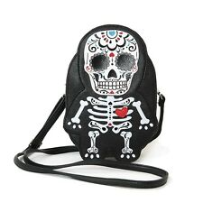 Tattooed Skeleton Sugar Skull Cross Body Shoulder Bag Handbag Purse