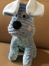 Babies R Us Blue Dog Puppy Ribbed Baby Rattle Plush Toy Patchwork Friends