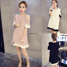 Korean Womens Chiffon Loose Slim Short Sleeve Tunic Casual Summer Dress Pink M