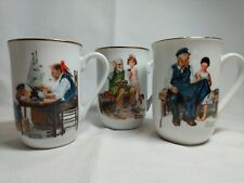 Lot of 3 Norman Rockwell Museum Coffee Cups Mugs 1982