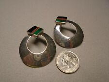 inlays of Black Onyx, Malachite Ray Tracey Sterling Silver Earrings with