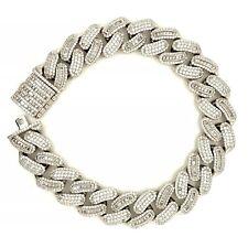 Sterling Silver 925 Miami Cuban Link Bracelet With Box Lock Cubic Zirconia CZ