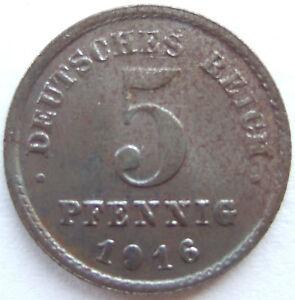 5 Pfennig 1916 G in fast Vorzüglich !!!