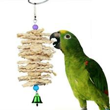 New listing Parrot Bird Toys Natural Wooden Grass Chewing Bite New Swing Bell Cage Hang Z1Z0