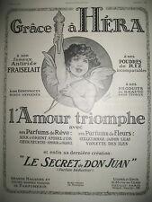 PUBLICITE DE PRESSE HERA  PARFUM PRODUITS DE BEAUTé ILLUSTRATION DELAYE AD 1921