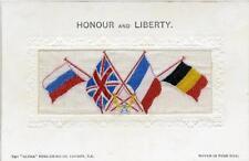 "WOVEN SILK PATRIOTIC FLAG POSTCARD ""HONOUR AND LIBERTY"", ALPHA SERIES"