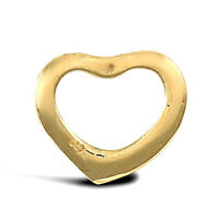 Solid 9ct Yellow Gold Open Floating Love Heart Charm Pendant